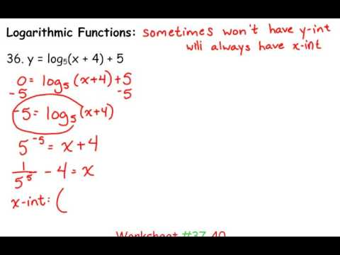 Day 75 Lesson~Intercepts of Logarithmic Functions