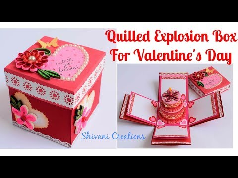 DIY Quilled Explosion Box for Valentine's Day/ Love Explosion Box/ Quilled Cake box