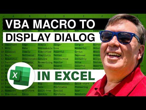 MrExcel's Learn Excel #954 - Macro Display Dialog