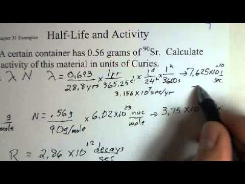 Radioactivity, Activity and Half-Life Calculation