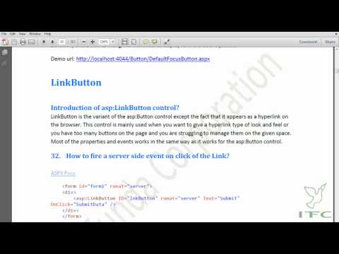 Demo of Button and LinkButton control in ASP.NET