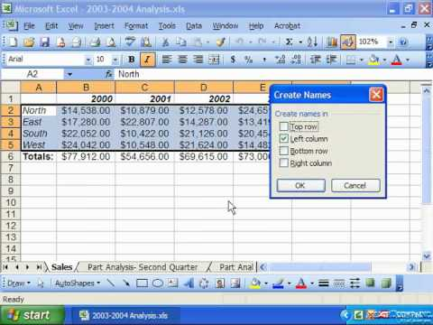 Excel 2003 Tutorial Creating Names from Headings Microsoft Training Lesson 13.4