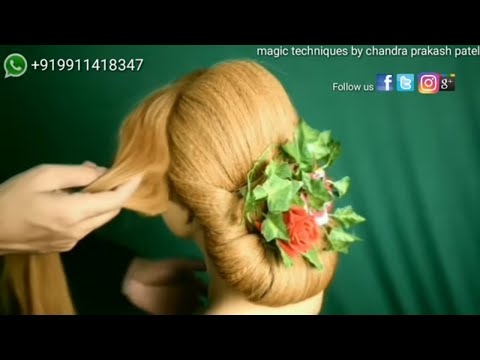 bridal engagement hairstyle  (magic techniques by chandra prakash patel)