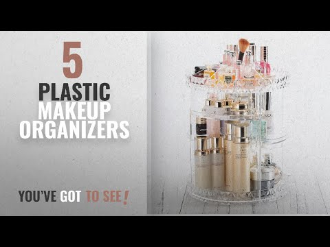 Top 10 Plastic Makeup Organizers [2018]: 360 Degree Rotating plastic Makeup Organizer Adjustable