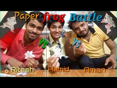 Paper frog battle/ Origami how to make paper jumping frog