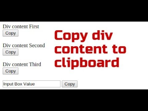 How to copy div content to clipboard using jQuery