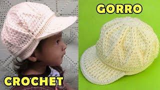 d04742d01b893 Gorra con vicera tejido a crochet para niños de 1 a 3 años