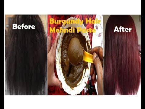 Burgundy Hair Mehndi paste    How to get Naturally Burgundy Hair Color