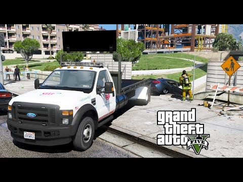 ANOTHER DAY AT WORK #18 GTA 5 REAL LIFE MOD FLATBED TOW TRUCK SAVES CAR FROM FALLING OFF OF OVERPASS