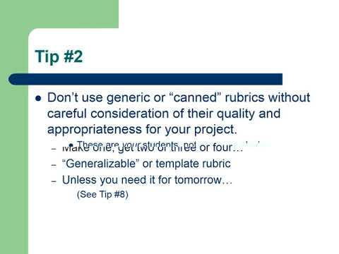 Tips For Effective Rubric Design