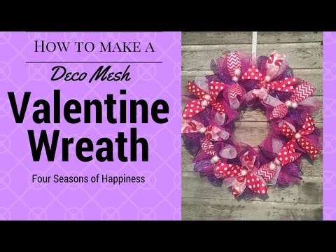 Simple Valentines Wreath, Afforable deco mesh wreath, how to make a simple valentines wreath
