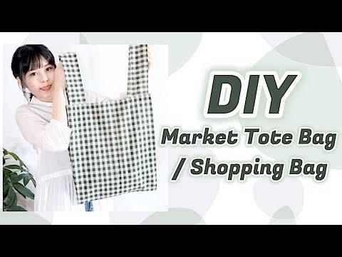 Sewing for Beginners DIY Linen Market Tote / Gingham Shopping Bag Tutorial // 手作り+ファッションㅣmadebyaya