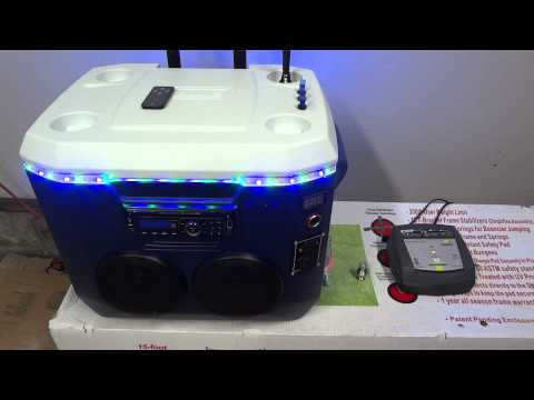 Cooler Radio w/ LEDs, Speakers, Voltmeter, and more