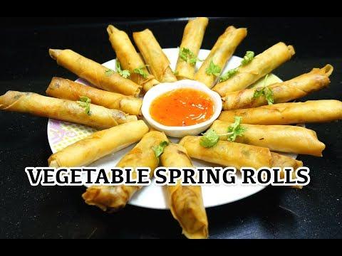 Vegetable Spring Rolls - How to make Spring Rolls - Chinese Rolls - Vegan