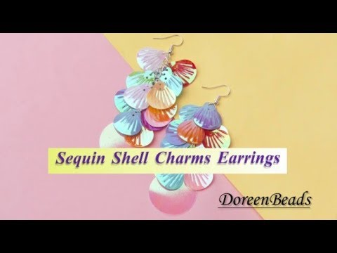 DoreenBeads Jewelry Making Tutorial - How to Make Shiny Shell Sequins Earrings.