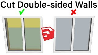 EASY OPENINGS IN THICKENED WALLS in SketchUp with Double Cut