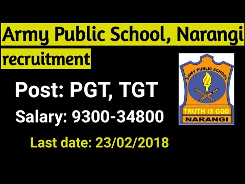 Army Public School recruitment | Teacher post vacancy in Army public school narangi