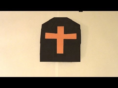 Origami Tombstone  Tutorial - How to make an Origami Headstone.