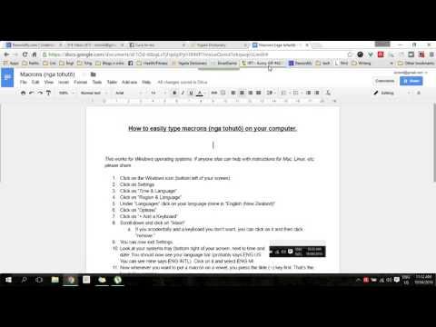 How to type macrons (nga tohutō) ā ē ī ō ū