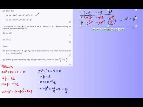 Quadratics - alpha beta roots