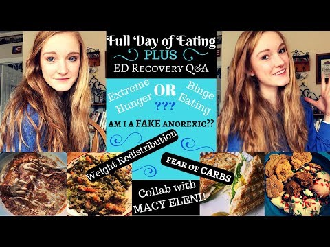 FULL DAY OF EATING + Q&A// Faking anorexia, weight redistribution & extreme hunger vs bingeing