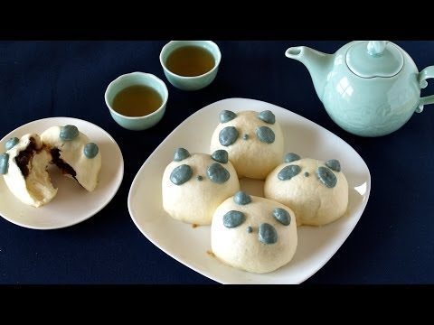 How to Make Panda Anman (饅頭 Manjyu) using a frying pan (Steamed Buns with Red Bean Paste) パンダあんまん