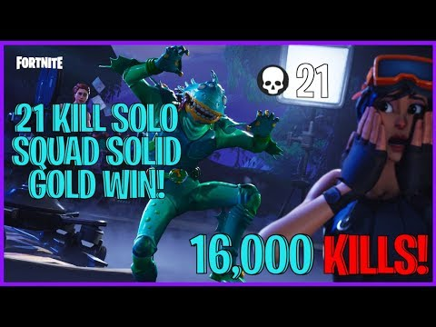 21 KILL SOLO SQUAD WIN WITH SOLID GOLD! ( FORTNITE BATTLE ROYALE )