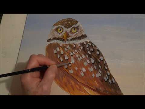 How to paint an owl You won't believe this trick to painting Owl feathers with acrylic paint Part 4