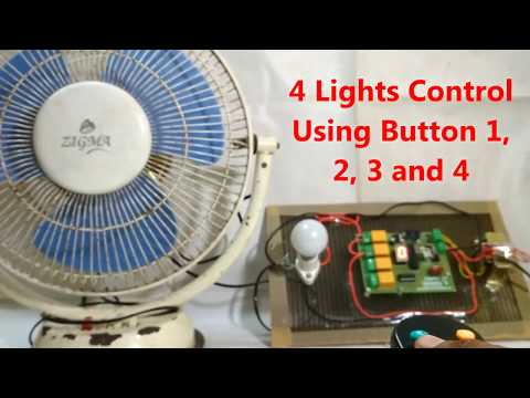 IR Remote Control Switch System For 4 Lights & 1 Fan With Speed Regulation