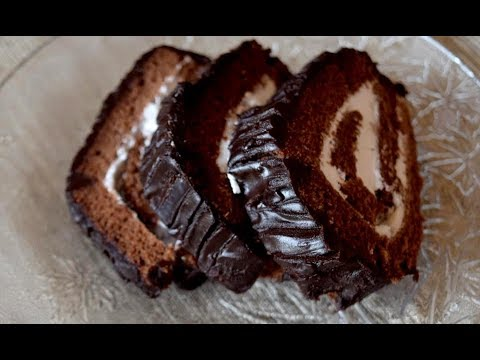 Easy Chocolate Cake Roll Recipe with cream filling