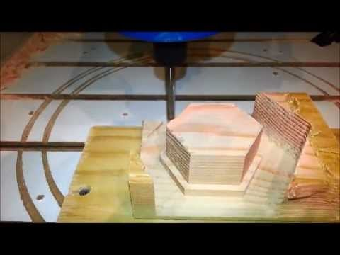 Cutting a hexagonal mold pin with a home-made CNC Router