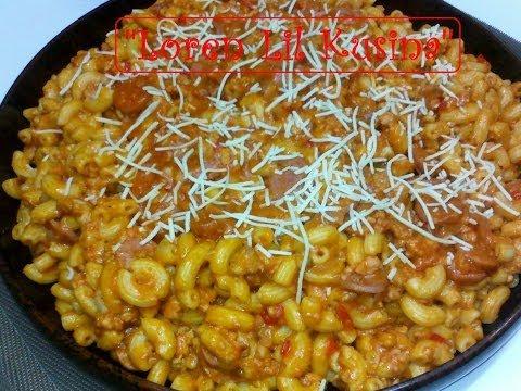 Cheesy Macaroni with Spaghetti Sauce -  Homemade