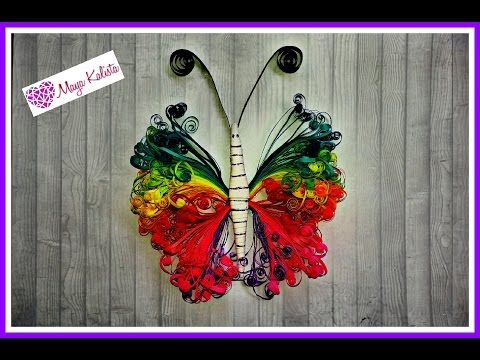 How to make DIY paper quilling DESIGNS - Paper Butterfly / art / Ideas Tutorial!