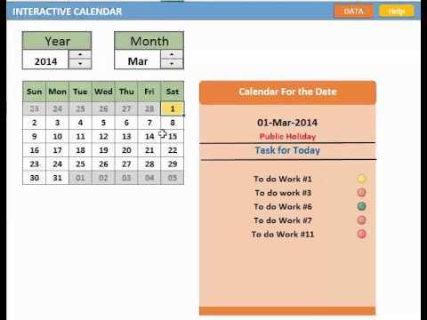 Excel : Interactive Calendar