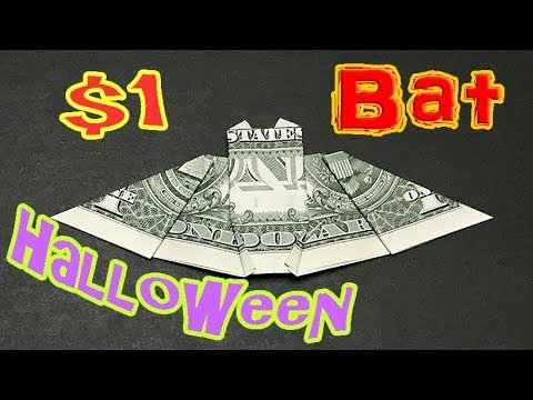 Money Origami Bat | How to make a Halloween Bats out of Dollar Bill | Easy Tutorial