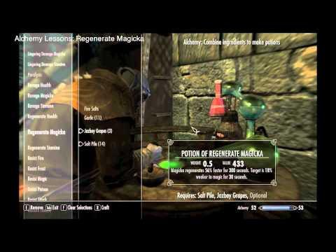 Skyrim Part 24 Compendium: Regenerate Magicka & Stamina Potions