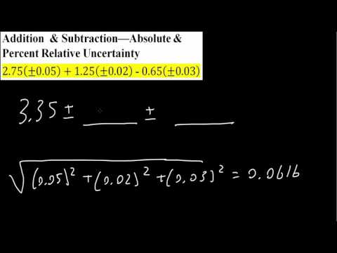 Addition  & Subtraction—Absolute & Percent Relative Uncertainty