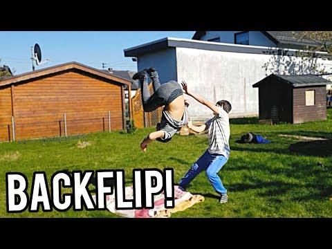 Freund lernt Backflip auf dem Boden! Teil 1!