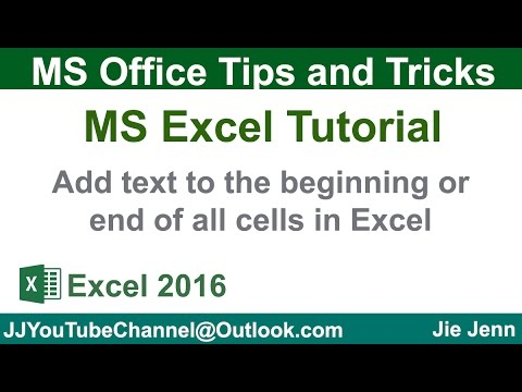 Add Text to the beginning and end of all cells | Excel Tutorial