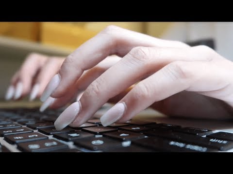Typing with Long Acrylic Nails (fast & slow, finger fluttering, tapping)