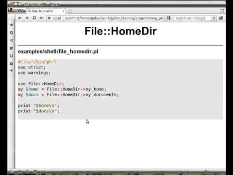 Beginner Perl Maven tutorial: 11.7 - File::HomeDir