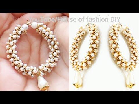 How To Make Party ware Silk thread Earrings||Hoop Earrings||Pearl chain earrings..