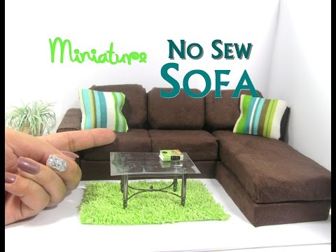 DIY No Sew Modern Sectional Sofa Chaise Lounge Dollhouse Furniture Miniature Furniture