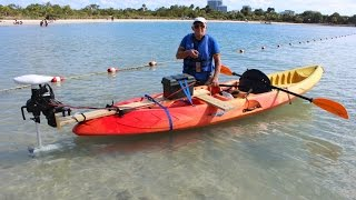 RC Trolling Motor installed on regular kayak