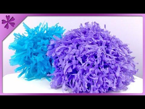 DIY Tissue paper pompom (ENG Subtitles) - Speed up #132