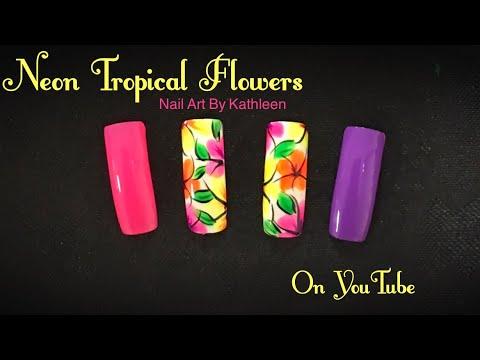Neon Tropical Flower Nail Art Tutorial