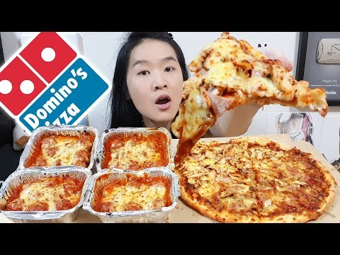 CHEESY DOMINO'S FEAST! Beef & Chicken Pizza, Napolitana Cheese Baked Meatballs | Eating Show Mukbang