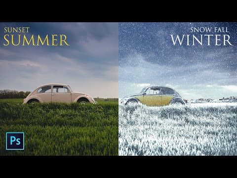 Summer to Winter Snow Photo Transformation - Create Snowfall Season Scene in Photoshop Manipulation
