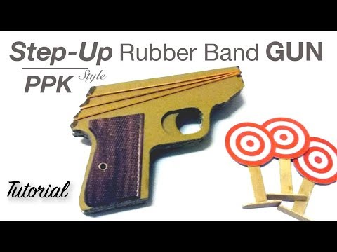 Step Up Cardboard Rubber Band Gun  - James Bond PPK inspired