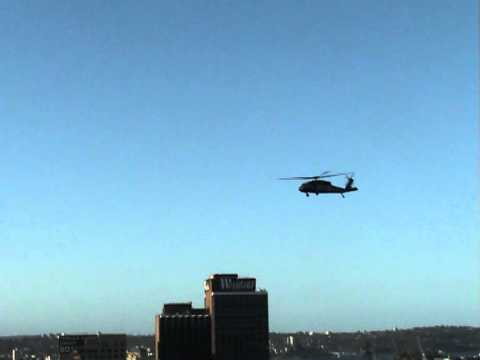 Military Helicopter Flying Low in Sydney